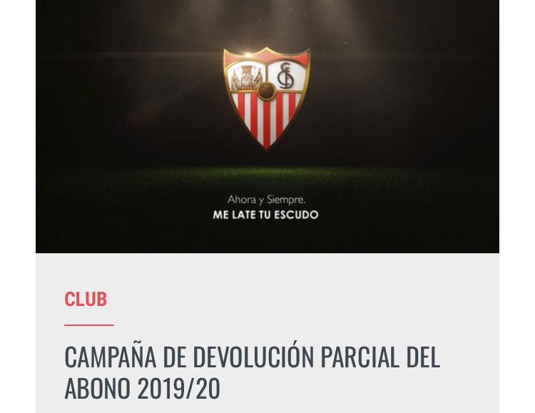 Devolución parcial del abono del SevillaFC