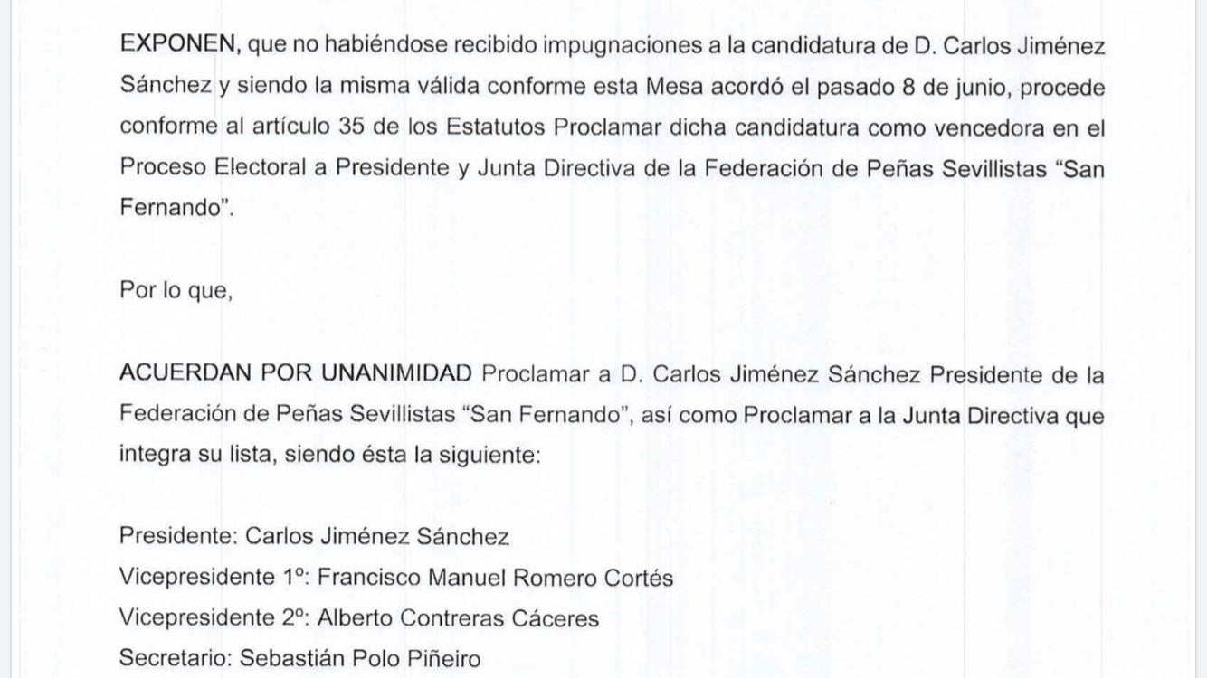 Carlos Jiménez revalida cuatro años más al frente de la Federación de Peñas